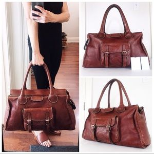 Chloé Large Edith Whiskey Leather Satchel Bag